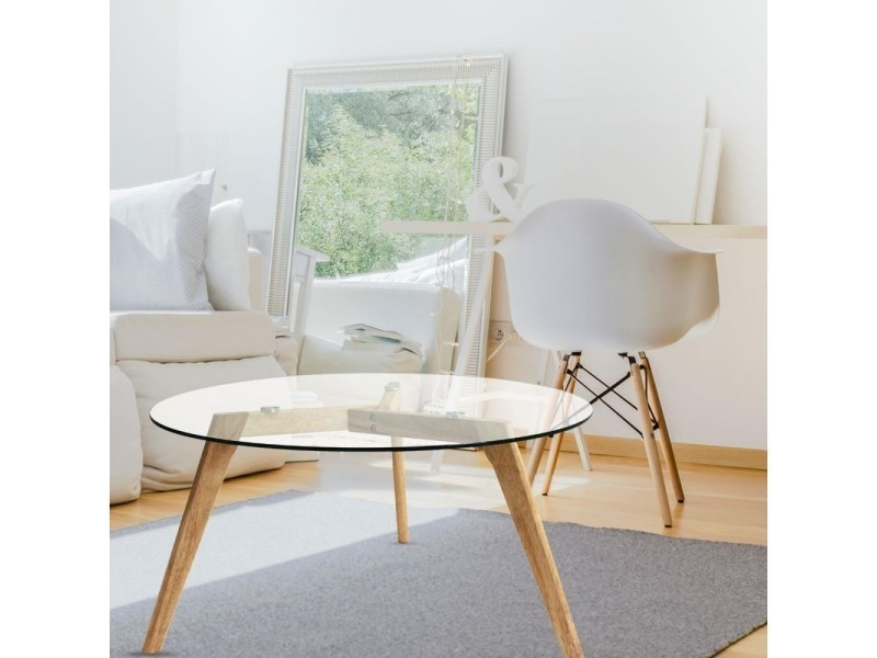 Table basse ronde bois et verre island vente de ego - Table basse ronde conforama ...