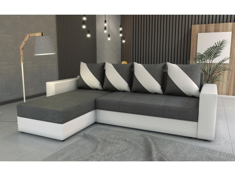 Canapé d'angle convertible huli gris foncé/blanc