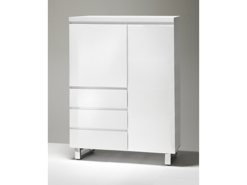 Commode haute altona blanc laqué brillant 2 portes 3 tiroirs piétement en métal chrome 20100884746
