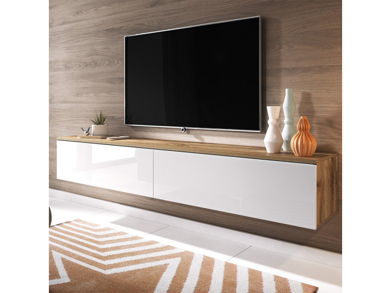 Meuble Tv Kane 180 Cm Chene Wotan Blanc Brillant Vente De Meuble Tv Conforama
