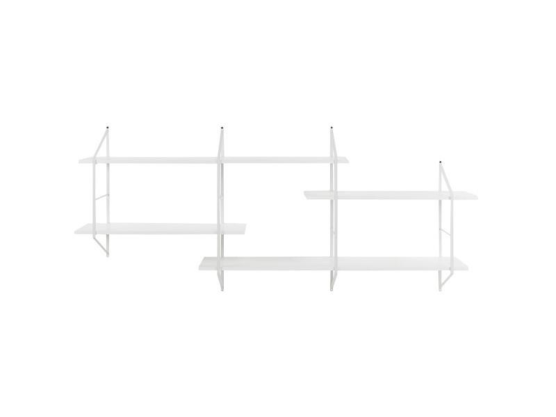 Étagère murale xl bois blanc et métal bridge