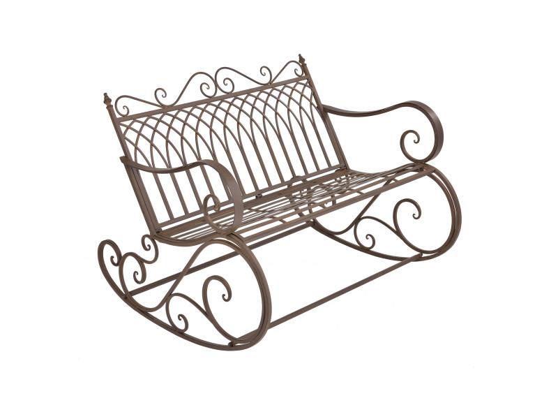 Banc à bascule de jardin vintage robuste meuble design pour usage extérieur pour 2 personnes capacité de charge 200 kg métal 85 x 113 x 95 cm bronze [en.casa]