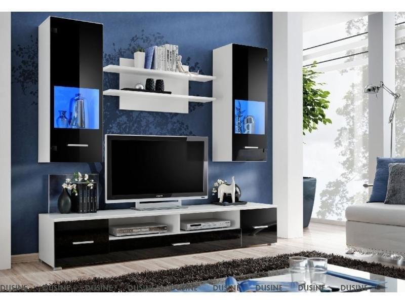 Meuble Tv Mural Magnetic Noir Brillant Et Blanc Mat 200cm Vente De