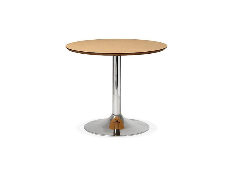 Table à manger ronde 90 cm en bois naturel et métal - franklin