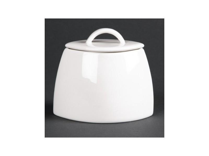 Sucriers ovales en porcelaine fine avec couvercles lumina _ lot de 6 - 7,5 cm porcelaine 20 cl