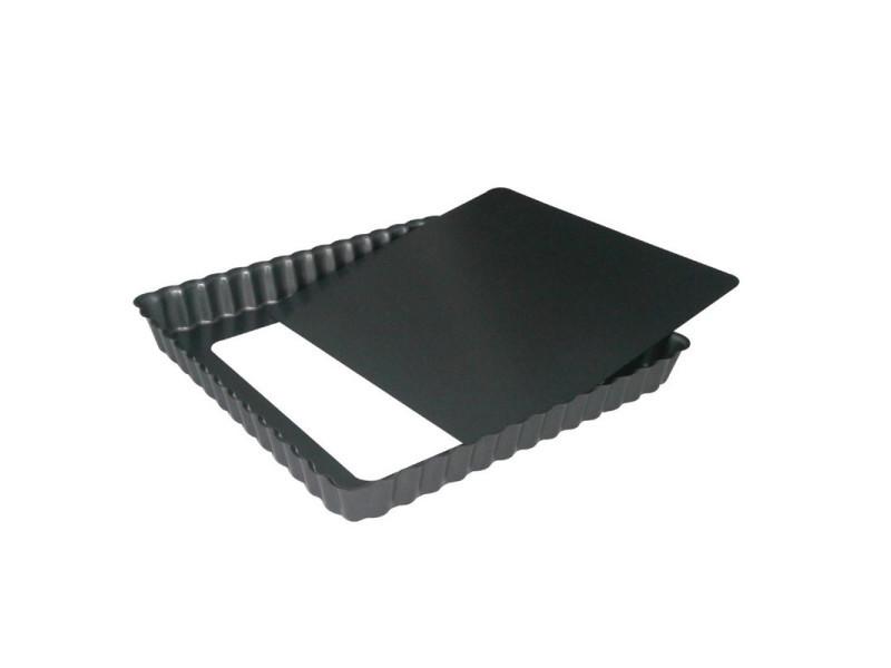 Moule à tarte carré antiadhésif avec fond amovible - 2 mesures - de buyer - acier 180(l) x 180(p) x 30(h) mm 514114