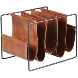 Porte-revues 5 compartiments en métal et cuir