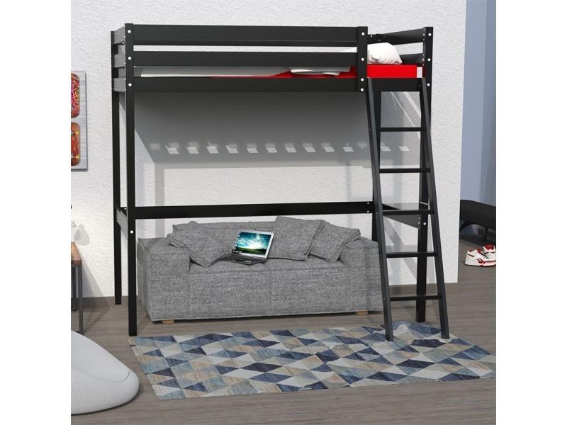lit mezzanine studio 90x190 1 sommier noir 322016 vente de lit enfant conforama. Black Bedroom Furniture Sets. Home Design Ideas