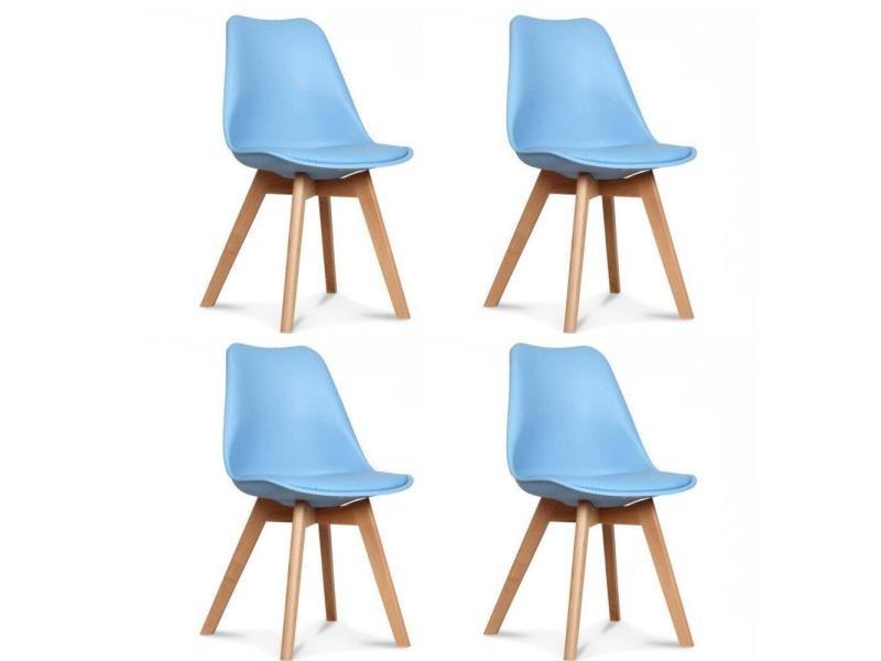 Lot De 4 Chaises Oslo Design Scandinave Bleue Clair Piétement En