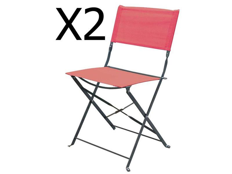 Lot de 2 chaises pliantes de jardin en acier et textilène, coloris rouge -pegane-