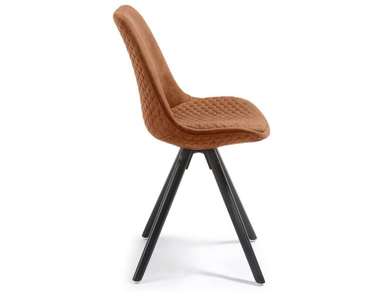 lot de 4 chaises marron design scandinave en tissu avec pi tement en bois massif noir laqu. Black Bedroom Furniture Sets. Home Design Ideas