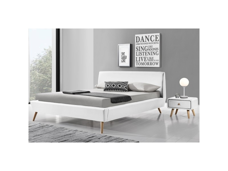 lit norway cadre de lit scandinave blanc avec pieds en bois 140x190cm conforama. Black Bedroom Furniture Sets. Home Design Ideas