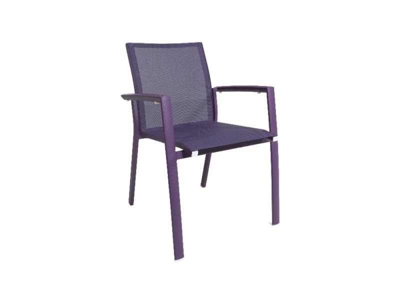 Chaise en aluminium et textilène violet sydney
