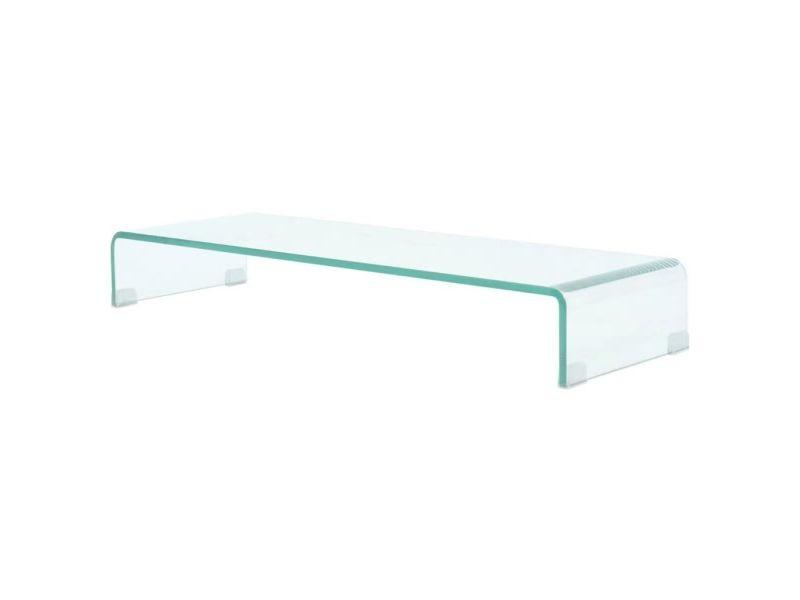 Meuble télé buffet tv télévision design pratique pour moniteur 90 cm verre transparent helloshop26 2502254