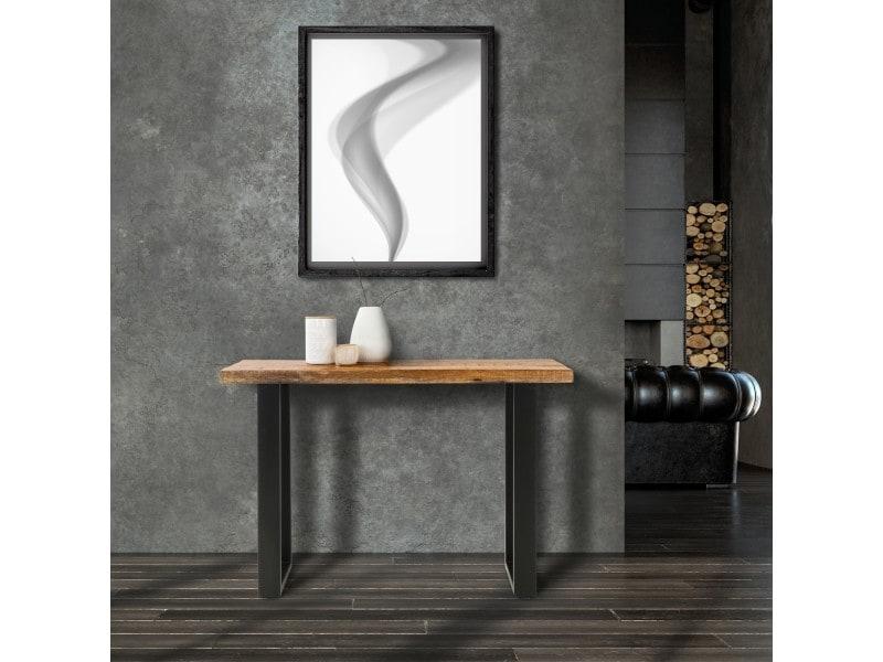 Womo-design table de salle à manger style industriel - 115x40x77 cm - bois de manguier massif et acier - table console cuisine dîner de repas d'appoint console canapé meuble salon mobilier à maison 390001482
