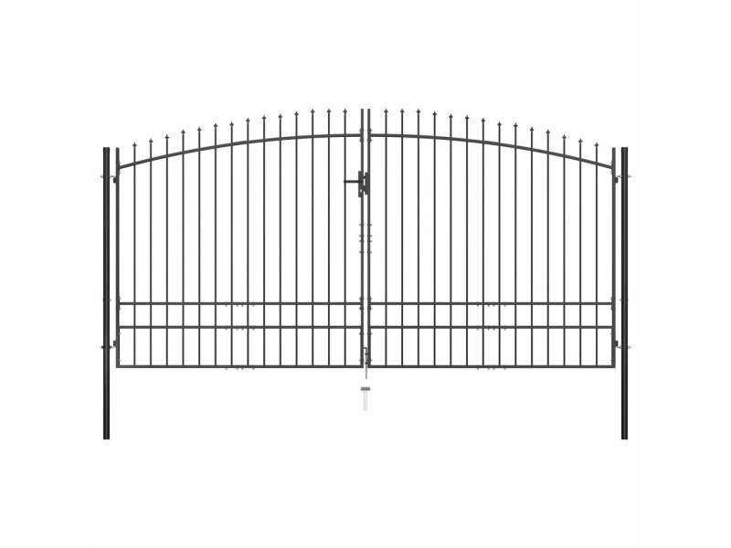 Stylé clôtures et barrières categorie asmara double portail avec haut sous forme de lance 400 x 248 cm
