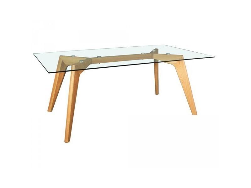 Table repas plateau verre , pieds chêne