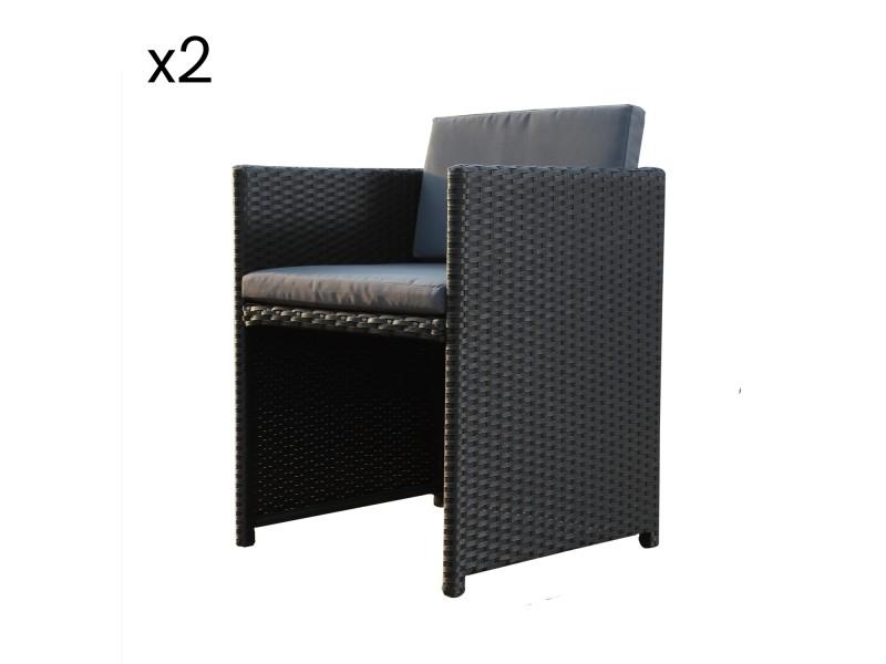 Lot de 2 chaises en résine tressée miami noir/gris - Vente de Salon ...