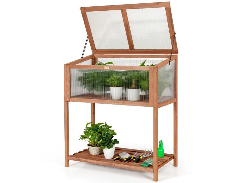 Giantex serre de jardin sur pied en bois avec couvercle ouvrant et charnière etagère à lattes grand bac de rangement 90x49x104,5cm