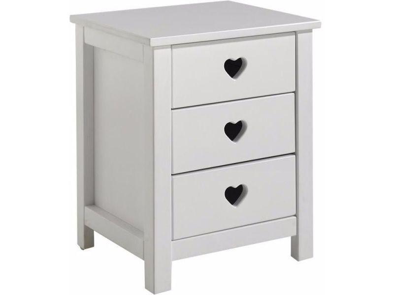 table de chevet romantique 45 cm 3 tiroirs en pin massif et mdf coloris blanc vente de comforium conforama