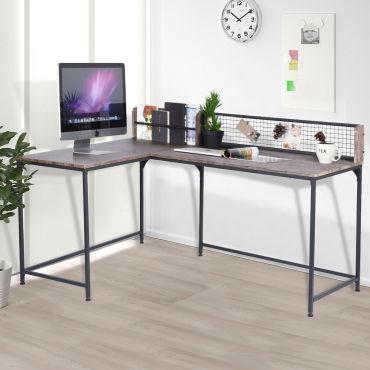 Bureau D Angle Etageres Multifonctionnel Noyer Bois Metal Vente De Furniturer Conforama