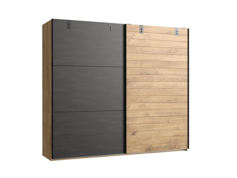 Armoire design 2 portes coulissantes imitation chêne poutre rechampis raw steel - l200 x h218 x p65 cm -pegane-