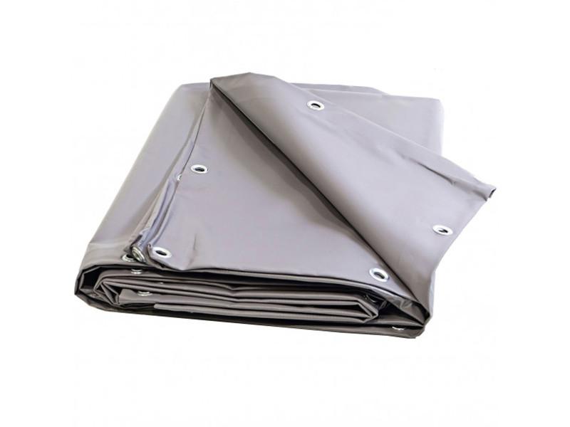 Bâche toiture 8 x 10 m grise 680 g/m2 pvc haute qualité