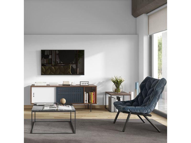 Table basse marbre gleam 75 - blanc et chromé