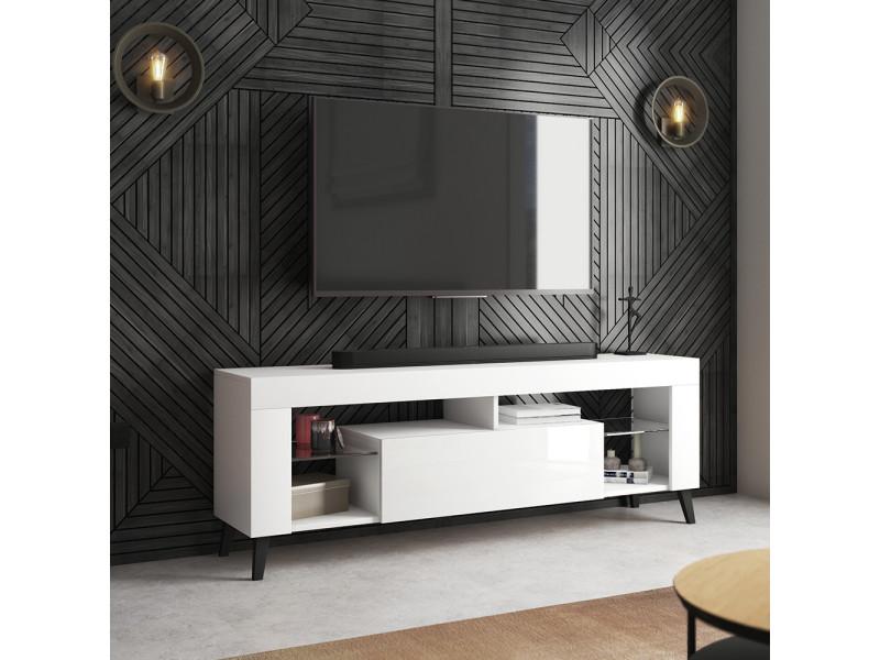 Meuble tv - hugob - 140 cm - blanc mat / blanc brillant