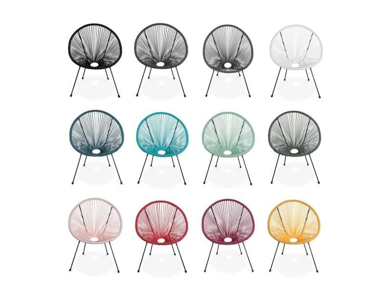 Fauteuil acapulco forme d'oeuf - gris foncé - fauteuil 4 ...