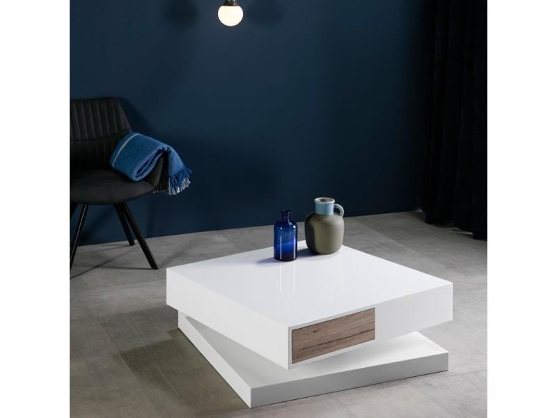 Table basse blanche laquée pivotante - ariele - l 80 x l 80 x h 30.5 - neuf