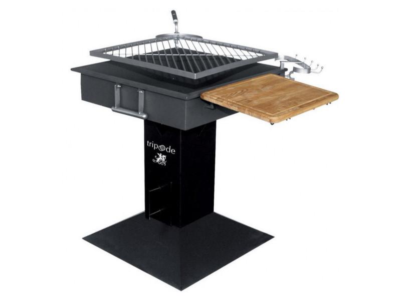 Barbecue à charbon grille inox carrée rotative 50 x 50 cm tablette bois et crochets