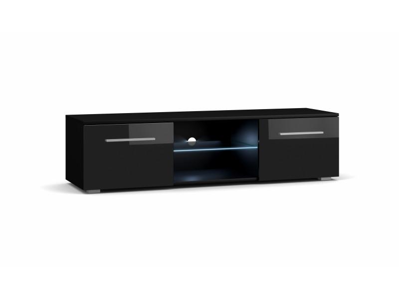 Meuble tv moderniste punes noir / noir brillant 100 cm led