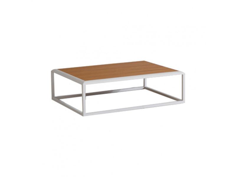 Table basse de jardin en aluminium blanc et un plateau en bois - rise