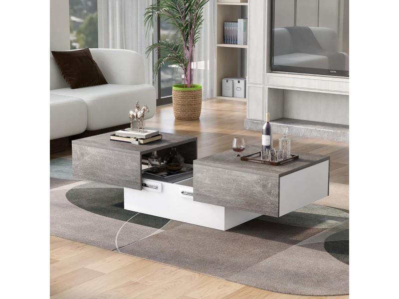 Table basse avec plateau coulissant et coffre de rangement gris