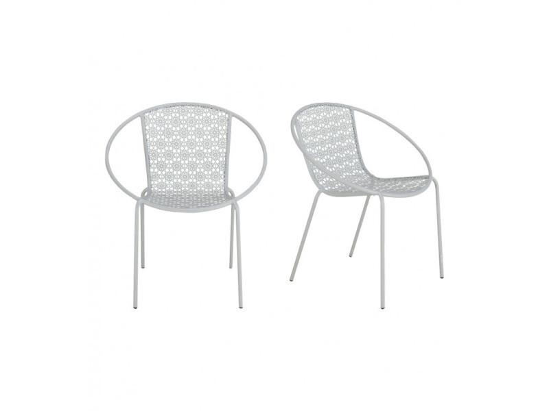 Lot de 2 fauteuils jardin motifs floraux métal gris - marrakech 3349
