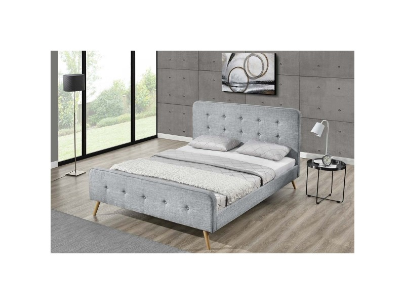 lit lanka cadre de lit scandinave gris clair avec pieds en bois 140x190 conforama. Black Bedroom Furniture Sets. Home Design Ideas