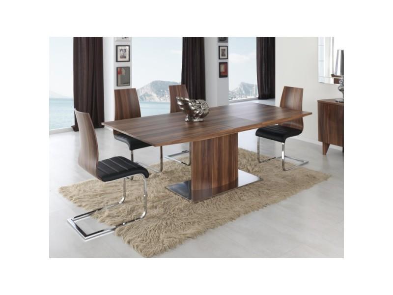 Table à manger rectangulaire extensible 160-200cm en bois couleur noyer vela - l 160 x l 90 x h 76
