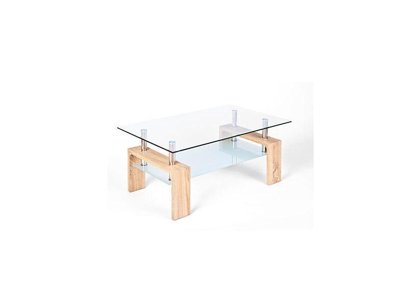 Table basse avec double plateau en verre naturel - kimmy