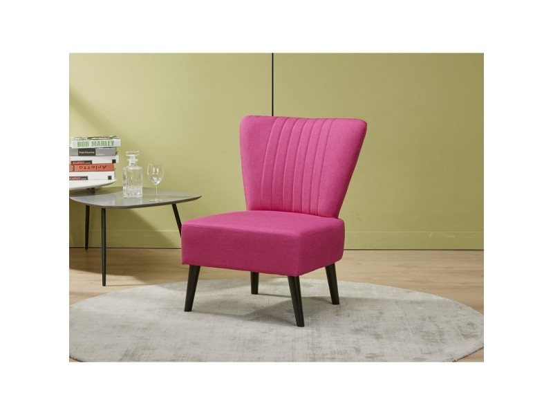 Fauteuil style crapaud rose - vintage scandinave - justine