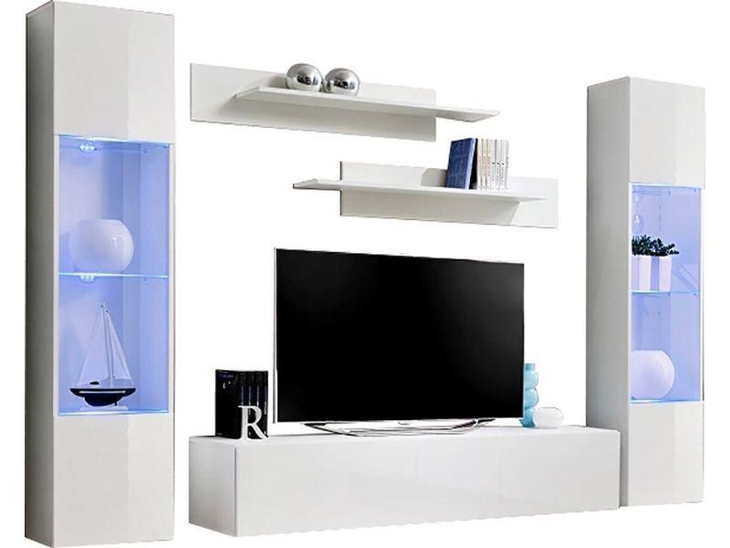 détaillant en ligne fa14e ea103 Ensemble suspendu 260 cm avec 1 meuble tv + 2 étagères et 2 ...