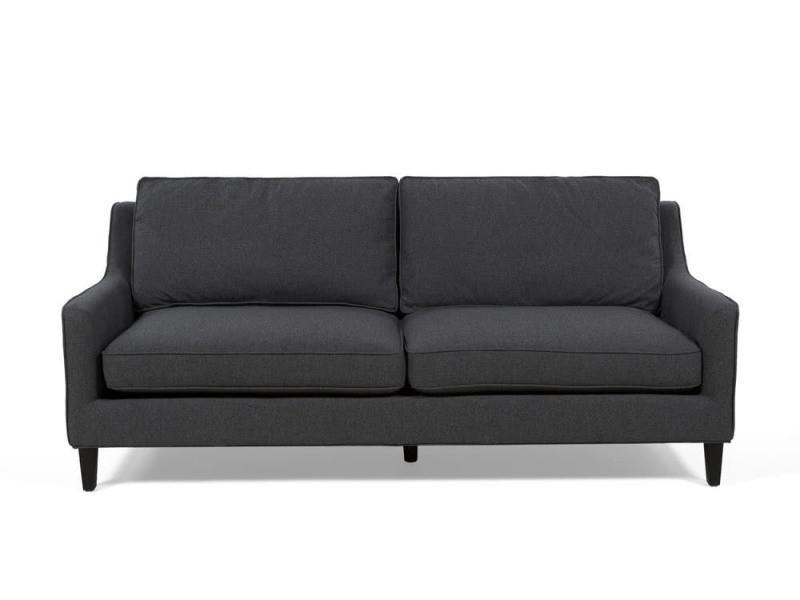 Canapé 3 places en tissu gris anthracite avec pieds bois savigny - Vente de  Canapé droit - Conforama 5fd8d65df9c5