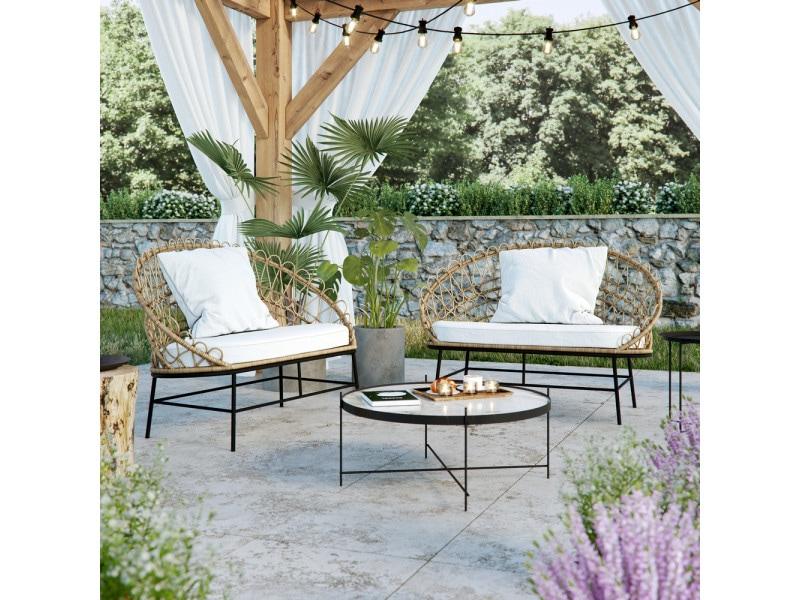 Canapé de jardin - sprinkle - 126 cm - naturel - style scandinave