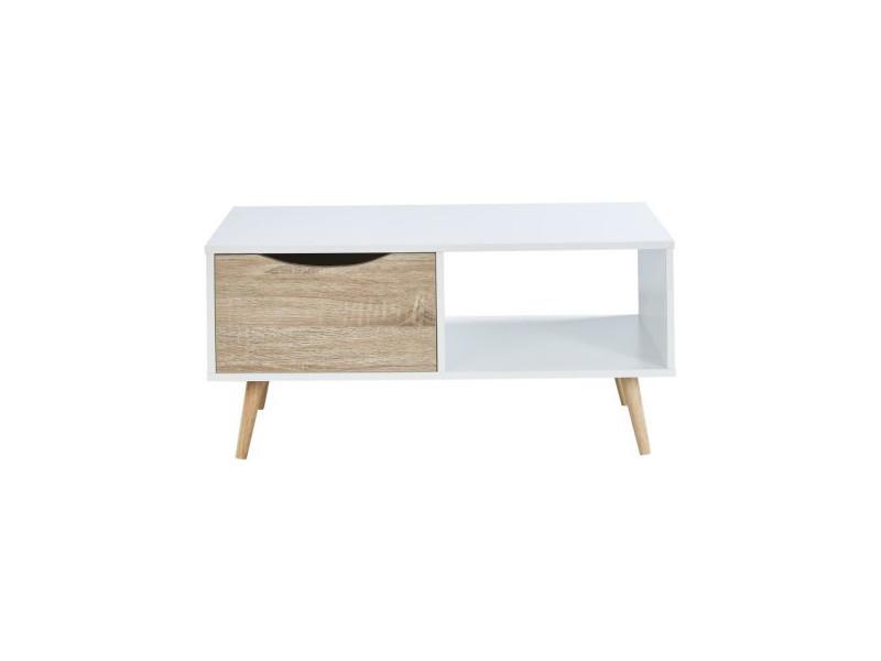Bela table basse scandinave blanc et chene - l 90 cm