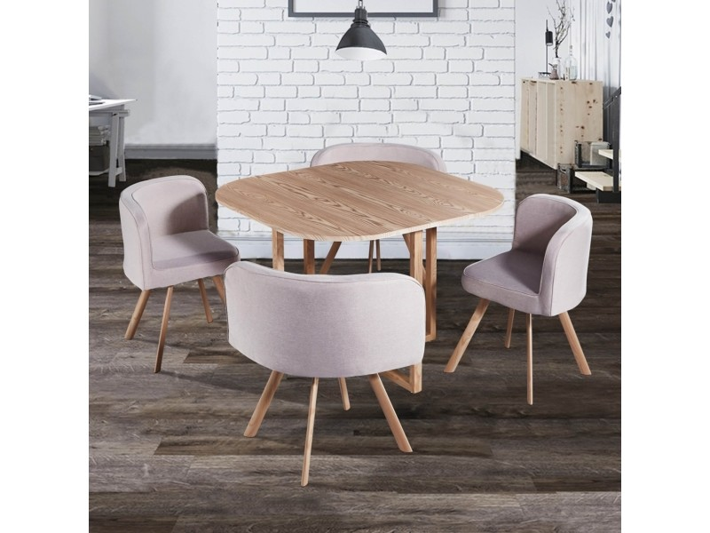 Ensemble Table 4 Chaises Encastrables Beige Flen Vente De Table Conforama
