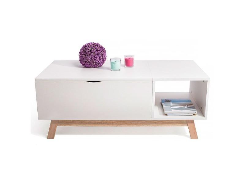 Gossa Table Basse Style Scandinave Avec Plateau évolutif Blanc
