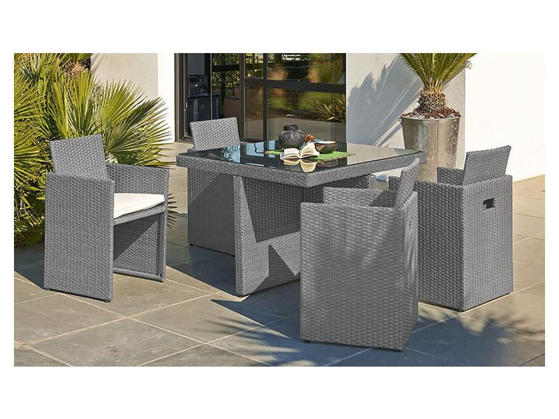 Ensemble table et 4 fauteuils encastrables gris - Vente de DCB ...