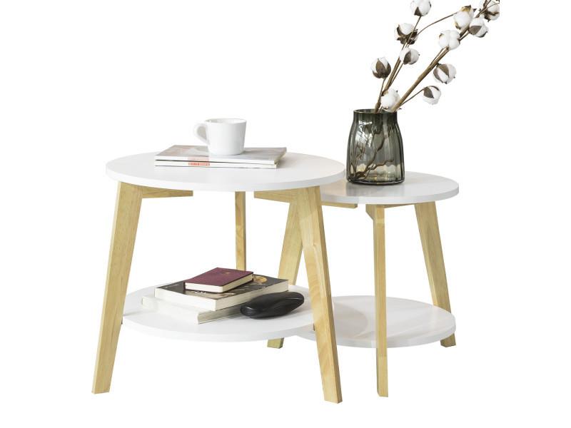 Set de 2-blanc et bois ronde table d'appoint table basse ronde guéridon fbt75-w sobuy®