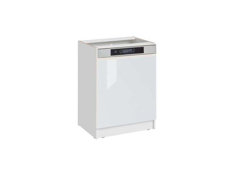Façade de cuisine pour lave-vaisselle semi-intégrable - l 59,6 cm - blanc brillant