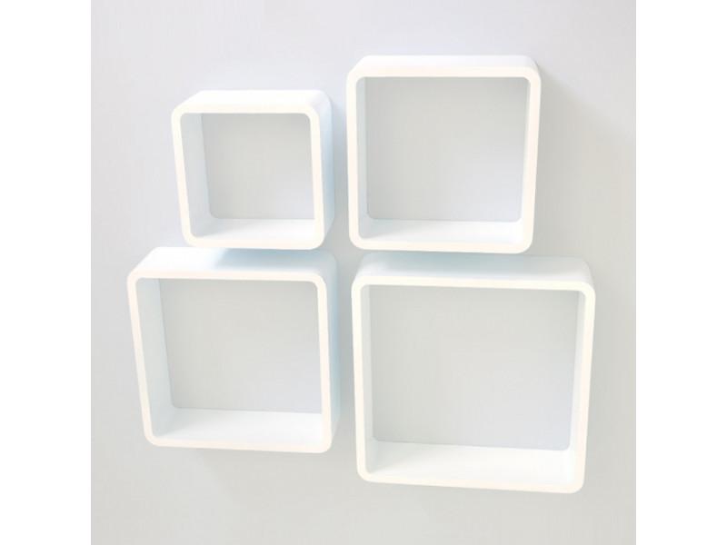 Étagères cube murale de 4 piéces blanc -pegane-